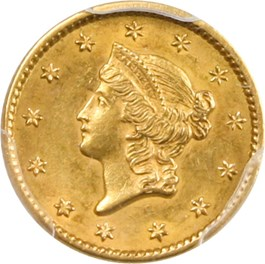 Image of 1852 G$1 PCGS AU58