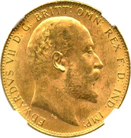 Image of Great Britain: 1904 Sovereign NGC MS62 (KM#805) 0.2354 oz Gold