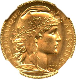 Image of France: 1914 20 Fr NGC MS66 (KM-857) 0.1867 oz. Gold