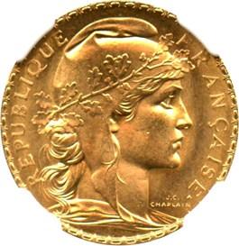 Image of France: 1914 20 Fr NGC MS66 (KM-857) 0.1867 oz. Gold