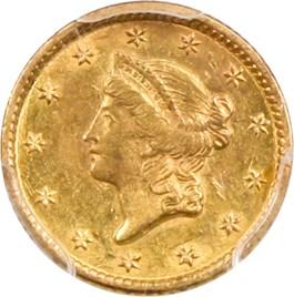 Image of 1854 G$1 PCGS AU58 (Type 1)