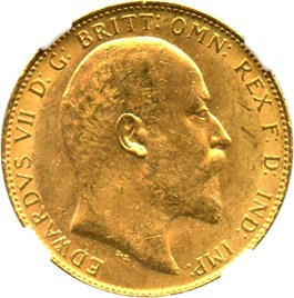 Image of Great Britain: 1908 Sovereign NGC MS62 (KM#805) 0.2354 oz Gold