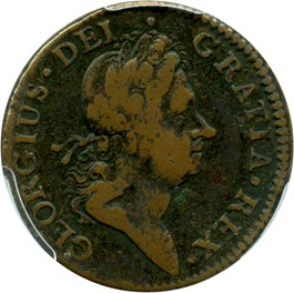Image of 1722 Hibernia 1/2 P PCGS VF20 (Harp Left)