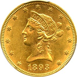 Image of 1893 $10 PCGS MS61 - No Reserve!