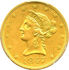 Image of 1847-O $10 PCGS XF45
