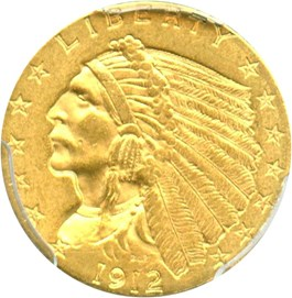 Image of 1912 $2 1/2 PCGS MS62