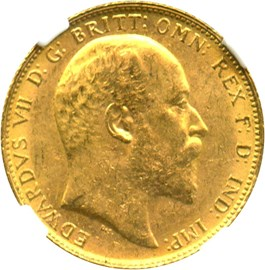 Image of Great Britain: 1902 Sovereign NGC MS62 (KM#805) 0.2354 oz Gold