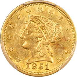 Image of 1851 $2 1/2 PCGS AU55
