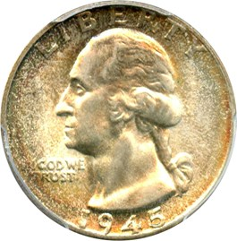 Image of 1945 25c PCGS MS66