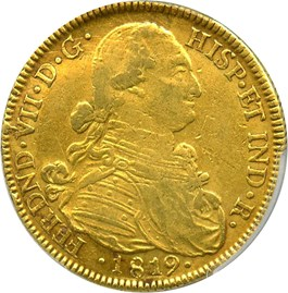 Image of Colombia: 1819-NR JF 8 Esc PCGS AU50 (KM#66.1) .07614 oz Gold