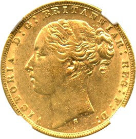 Image of Australia: 1873-S St. George Gold Sov NGC AU53 (KM-7) 0.2355 oz Gold