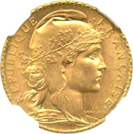 Image of France: 1910 20 Gold Franc NGC MS65 (KM-857) .1867oz Gold