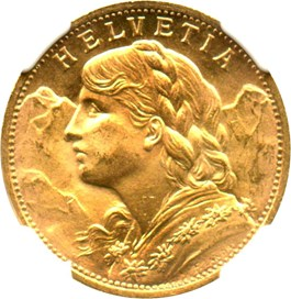 Image of Switzerland: 1930 B 20 Gold Franc NGC MS65 (KM-35.1) .1867oz Gold