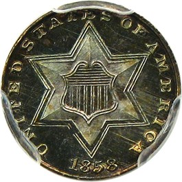 Image of 1858 3cS PCGS/CAC Proof 66