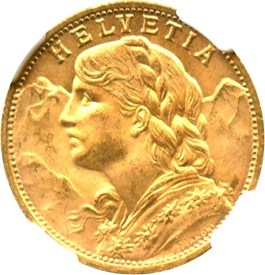 Image of Switzerland: 1927 B 20 Gold NGC MS64 (KM-35.1) .1867oz Gold
