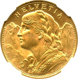 Image of Switzerland: 1922 B 20 Gold Franc NGC MS64 (KM-35.1) .1867oz Gold