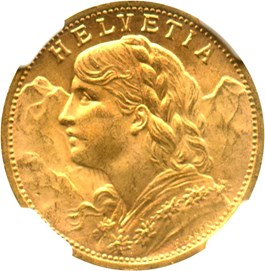 Image of Switzerland: 1927 B 20 Gold Franc NGC MS64 (KM-35.1) .1867oz Gold