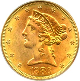 Image of 1886-S $5 PCGS MS64