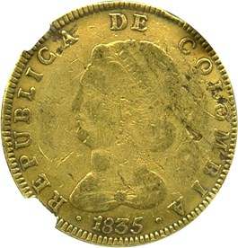 Image of Colombia: 1835-RS 8 Escudos NGC F15 (Bogota, KM#82.1) 0.7616 oz Gold