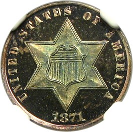 Image of 1871 3cS NGC/CAC Proof 67 CAM