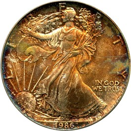 Image of 1986 Silver Eagle $1 PCGS MS64 - No Reserve!