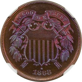 Image of 1868 2c NGC Proof 67 RB