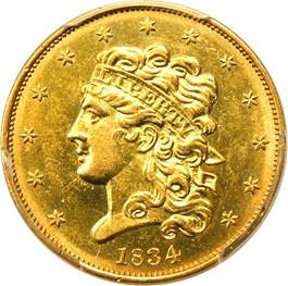 Image of 1834 Classic Head $5 PCGS AU58 (Classic, Crosslet 4)