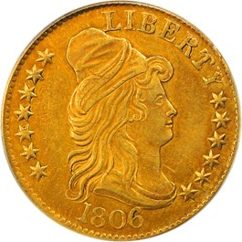 Image of 1806 $5 PCGS AU50 (Rounded 6, 7X6, OGH)