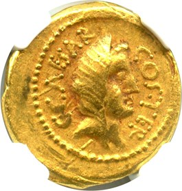 Image of 46 BC Julius Caesar AV Aureus NGC XF (Ancient Roman, Twelve Caesars) Strike: 5/5; Surface: 4/5