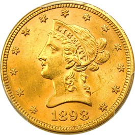 Image of 1898 $10 PCGS MS64