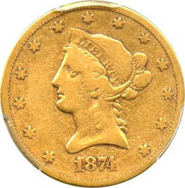 Image of 1874-CC $10 PCGS/CAC VG-10