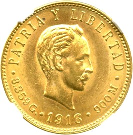 Image of Cuba: 1916 5 Peso NGC MS62 (KM-19) 0.2419 oz Gold