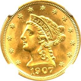 Image of 1907 $2 1/2 NGC MS64+