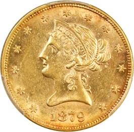 Image of 1879 $10 PCGS/CAC AU58 - No Reserve!