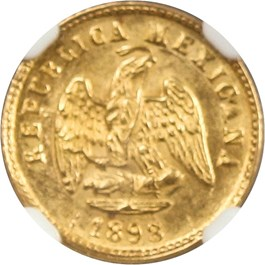 Image of Mexico: 1898 MO M Gold 1 Peso NGC MS63 (KM-410.2) 0.0476 oz Gold