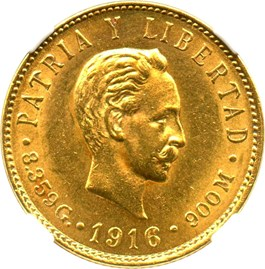Image of Cuba: 1916 5 Peso NGC MS63 (KM-19) 0.2419 oz Gold