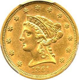 Image of 1861 $2 1/2 PCGS/CAC AU58 (New Reverse)