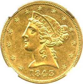 Image of 1843 $5 NGC AU58