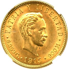 Image of Cuba: 1915 5 Peso NGC MS62 (KM-19) 0.2419 oz Gold