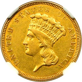 Image of 1854-O $3 NGC AU53