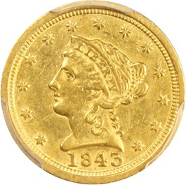Image of 1843-C $2 1/2 PCGS/CAC AU53 (Large Date)