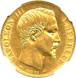 Image of France: 1858-A 20 Fr NGC AU58 (KM-781.1) 0.1867 oz Gold