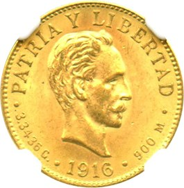 Image of Cuba: 1916 2 Peso NGC MS64 (KM-17) 0.0967 oz Gold
