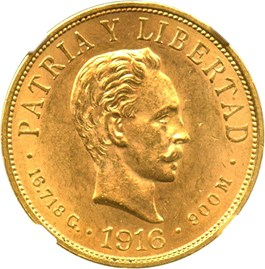 Image of Cuba: 1916 10 Peso NGC MS63 (KM-20) 0.4838 oz Gold