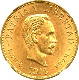 Image of Cuba: 1916 10 Peso NGC MS62 (KM-20) 0.4838 oz Gold