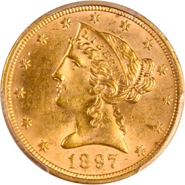 Image of 1897 $5 PCGS MS62 - No Reserve!