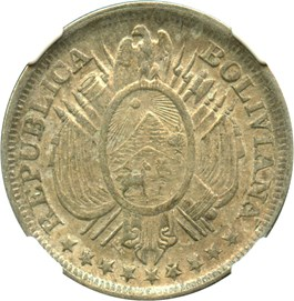 Image of Bolivia: 1891-PTS CB 50 Centavos NGC AU58 (Without Weight, KM#161.5) .3327 oz Silver