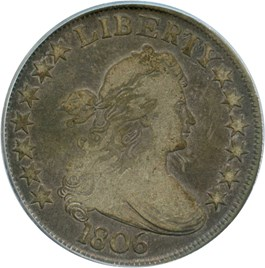 Image of 1806 50c PCGS/CAC F12 (Pointed 6, Stems)
