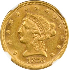 Image of 1876 $2 1/2 NGC/CAC AU58