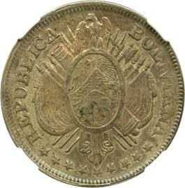 Image of Bolivia: 1897-PTS CB 50c NGC AU55 (KM#161.5) .3327 oz Silver